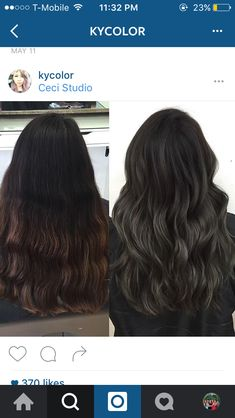 charcoal and ash tones on dark hair! balayge silver on dark hair