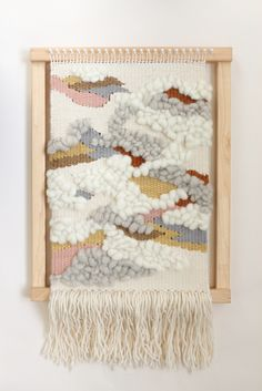 Woven wall hanging by Alchemy on the loom. Handwoven using plant dyed and undyed Australian wool yarns and fibres.