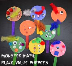 Monster Math: Place Value {or Counting} Puppets @Elmer's  #elmersacademy