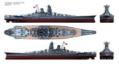 IJN Yamato Ten-Ichi-Go. Battleship Yamato in which is believed to be her last configuration.