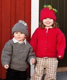 Stickmönster - Kofta och tröja samt äpplemössa med larv och mössa med orm - Gratis! Knitting For Kids, Knit Crochet, Winter Hats, Style, Fashion, Velvet, Scale Model, Swag, Moda