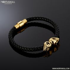 Complement Your Wrist With The Premium Black Nappa Leather/ Gold Twin Skull Bracelet By Mens Skull Jewelry, Leather Jewelry, Leather Bracelets, Copper Jewelry, Bangles, Unique Jewelry, Cheap Charm Bracelets, Bracelets For Men, Men's Fashion Jewelry