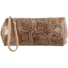 Pre-owned Diane von Furstenberg Arabella Wristlet Clutch ($75) ❤ liked on Polyvore featuring bags, handbags, clutches, animal print, handbag purse, wristlet clutches, suede purse, zip wristlet and brown purse