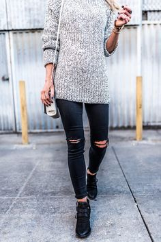 Black western boots + chunky grey sweater