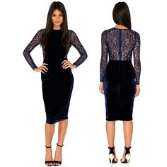 2013 New Fashion Women Autumn Winter Long Sleeve Blue Velvet Lace Patchwork Knee Length Slim Bodycon Bandage Dress-in Dresses from Apparel &...