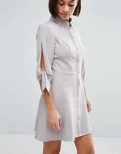 Miss Selfridge Petite Tie Sleeve Shirt Dress