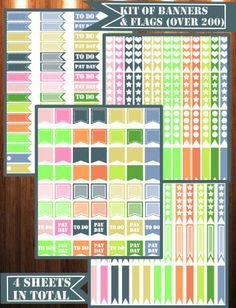 Banner/Flags for Happy Planner for all the 2016 monthly colors