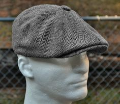 HERRINGBONE TWEED GATSBY Newsboy Cap Men Wool Ivy Hat Golf Driving Flat Cabbie #HeadHoncho #HerringboneNewsboyCap