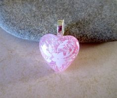 Pink Heart Handcrafted Dichroic Fused Glass Pendant A0146 | bluskysglass - Jewelry on ArtFire