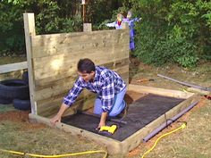 construct a box for gravel pit using side boards
