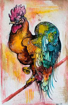 Rooster art print via Etsy