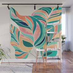Leaves Wallpaper, Leaf Illustration, Modern Tropical, Old Wall, Mural Painting, Creative Outlet, Tropical Leaves, Fabric Panels, Wall Murals