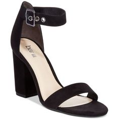 Bar Iii Mikayla Block Heel Sandals, ($80) ❤ liked on Polyvore featuring shoes, sandals, black, colorblock sandals, black block-heel sandals, chunky-heel sandals, chunky heel sandals and black block heel shoes