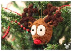 DIY Rudolph Reindeer Amigurumi Ornament - FREE Crochet Pattern / Tutorial
