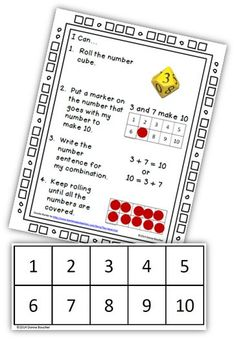 Math Coach's Corner: Roll and Cover for 10: Two Versions. Learning combinations for making 10 (ex., 3 + 7, 2 + 8, etc.) is a critical component for building number sense and developing fact fluency. With two versions of this game, students can practice on an abstract level or representational. Grab them for free!
