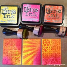 Create colorful ATCs with Distress Inks, Stamps and Stencils