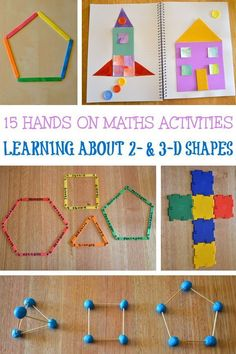 15 fun and hands-on learning activities for teaching children about and shapes and their properties. Great for preschool, kindergarten and first grade. Learning Shapes for Toddlers Shape Activities Kindergarten, 3d Shapes Activities, Geometry Activities, Teaching Shapes, Learning Activities, Preschool Activities, Hands On Learning Kindergarten, Babysitting Activities, Shapes Worksheets