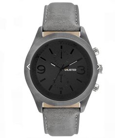 UNLISTED WATCH Men City Streets Round Grey Case Black Dial Grey Strap UL1265 #Unlisted #Dress