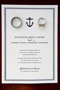 Nautical Wedding Invitations Photographed with Wedding Rings. Photo by Melanie Duerkopp Photography