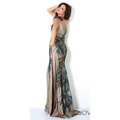 Jovani Peacock Mermaid Dress 111054 ❤ liked on Polyvore