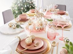 Blush and Silver Christmas table. Kmart Australian style