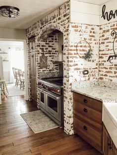 Love the brick and German schmear on the brick in this kitchen! Adds so much character! Brick Fireplace Makeover, Home Fireplace, White Wash Brick Fireplace, Brick Interior, Home Interior, Home Renovation, Home Remodeling, Ideas Habitaciones, Faux Brick Walls