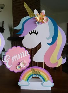 Unicorn Themed Birthday Party, Girl Birthday, Party Centerpieces, Birthday Party Decorations, Unicorn Baby Shower, Unicorn Crafts, Crafts For Kids, Ideas Party, Toddler Arts And Crafts