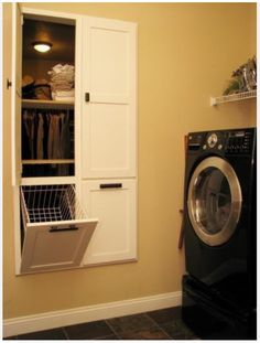 For a laundry room next to the master bedroom - The hamper goes into the master closet, and pulls out into the laundry room. Separate shelves for folded clean laundry.