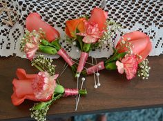 coral boutonnieres for a beach wedding by Reynolds Treasures Coral Boutonniere, Wedding Boutonniere, Plan My Wedding, Destination Wedding, Wedding Ideas, Wedding Colors, Wedding Flowers, Prom Ideas, October 2014