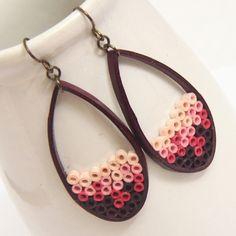 Maroon and Pink Ombre Teardrop Earrings Paper With Niobium Earring Hooks Eco Friendly Earrings, Artisan Jewelry by HoneysQuilling