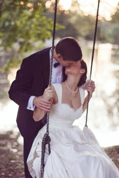 kiss in a swing