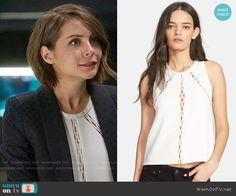 Thea's white cutout inset top and diamond textured blazer on Arrow.  Outfit Details: https://wornontv.net/56691/ #Arrow