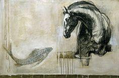 """""""Les nouvelles de l'onde"""", #mixedmedia on #canvas by #artist Lea Riviere at #Galerie Saint-Dizier"""