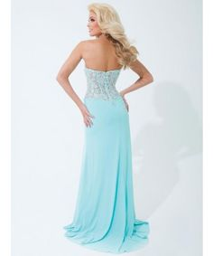 Tony Bowl  Strapless jersey gown with sheer lace midriff with crystal accents, style 114729