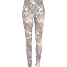 River Island Grey floral denim-look high waisted leggings (655 CZK) found on Polyvore