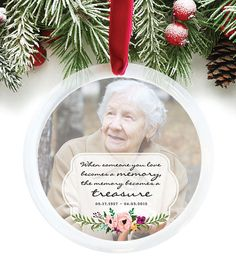 Remembrance Ornament, Memorial Gift, Custom Christmas Ornament, Forever in Our Hearts, In Memory of Loved Ones // C-P55-OR XX9