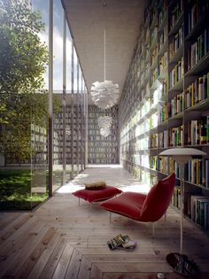 Love the Ligne Roset red Calin chairs, library space & seamless glass~ no idea who the designer is.