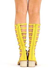 Qupid Kirby-04x Women Leatherette Strappy Gladiator Knee High Heel - Yellow [$31.90 (On sale from $69.00)]