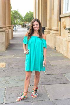 Green off the shoulder dress