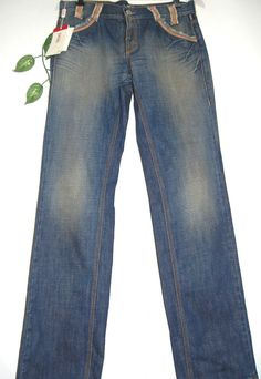 Versace Blue Denim Women's Cotton Jeans Size  30 44 NEW  #Versace #StraightLeg