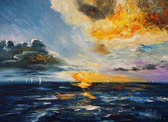 """Abstracted sea, water, wind, waves, sky, clouds, sailing boats.. special kind of freedom. Modern vibrant artworks. Blue, colorful, martim. Title: """"Beautiful Seascape Sunset M 1"""" Modern maritim abstracted art. Acrylic painting on canvas Size of this vibrant abstracted painting:49.2"""" width x 35.4"""" height x 1.5"""" depth"""