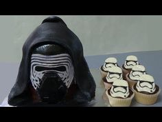 how to make kylo ren cake and stormtrooper cupcakes - YouTube
