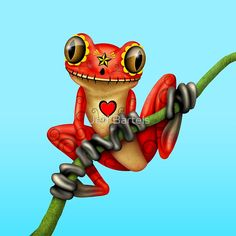 Red Day of the Dead Sugar Skull Tree Frog by Jeff Bartels