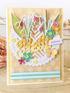 Hello Spring Card by Melissa Phillips for Papertrey Ink (February 2018)