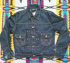 7b54cdff Vintage 1940s style wrangler blue bell buckle back pleated denim jacket