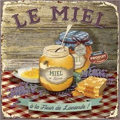 Art Print: Miel by Bruno Pozzo : Decoupage Vintage, Decoupage Paper, Vintage Diy, Vintage Labels, Vintage Cards, Vintage Postcards, Kitchen Art, Vintage Kitchen, Kitchen Retro