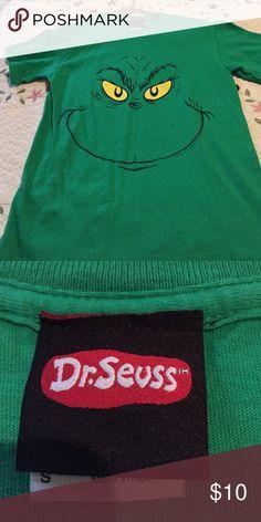 BOGO Grinch Face Christmas tee Super Cute Worn Once Dr. seuss Tops Tees - Short Sleeve