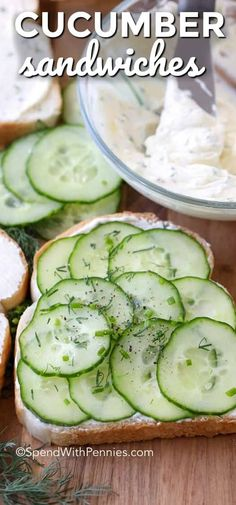 Cucumber Sandwiches are a delicious and refreshing sandwich.  Layers of thin cucumbers and fresh herbed cream cheese are sandwiched in soft bread and cut into bite sized pieces.  Perfect for lunch or tea. #spendwithpennies #cucumbers #cucumbersandwiches #cucumberrecipes
