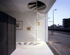 minimalistische frei schwebende Treppe-weiße Spirale