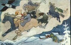 Julekort.Kunstnerkort Chr Kittelsen. Fem troll med hester Utg Oppi Postgått 1944